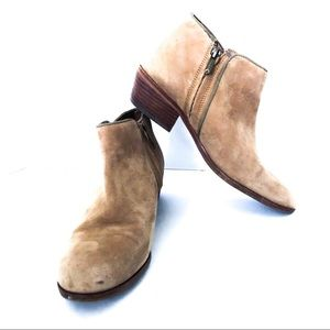 """{SAM EDELMAN} Tan Suede """"Petty"""" Ankle Booties"""